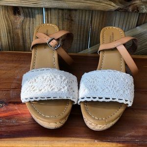American Eagle Outfitters Shoes - American Eagle Crochet Ankle-Strap Cork Wedges